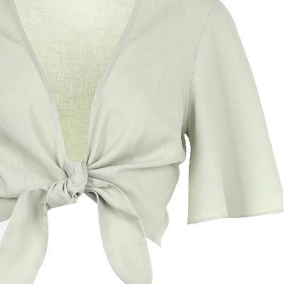 ribbon tied up crop cardigan
